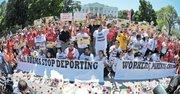 El jueves 28 de agosto los manifestantes por una reforma migratoria se concentraron ante la Casa Blanca.