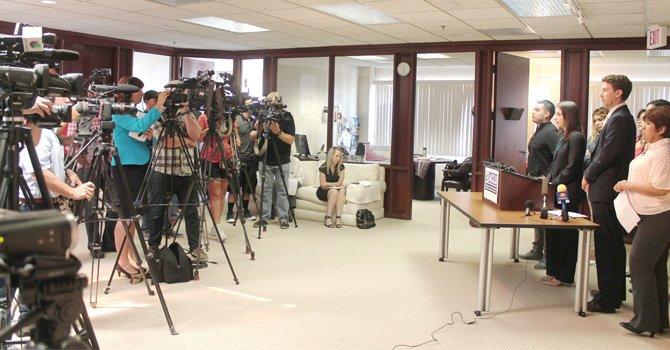 Aspecto de la conferencia de prensa de la oficina ACLU, en Los Ángeles.(Foto: Cortesía de ACLU).