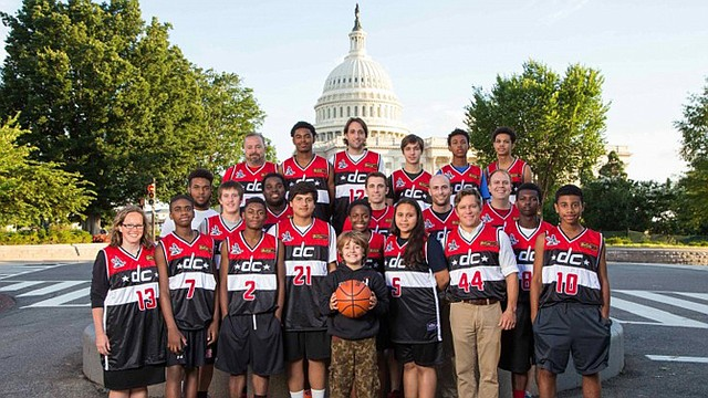 The 2014 team Hoops Sagrado Basketbol poses in Washington before going to Guatemala. The teenagers will spend three weeks in Guatemala sharing their love of basketball with fifth- and sixth-grade kids. (Jason Dixson)
