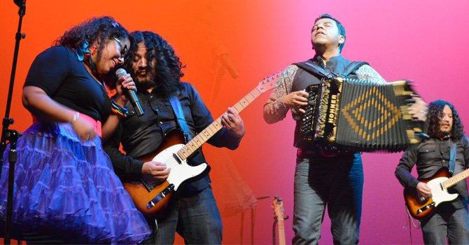 """Marisol """"La Marisoul"""" Hernández, la vocalista de la La Santa Cecilia, el guitarrista Marco Saldoval, y el acordeonista Jóse """"Pepe"""" Carlos en  su concierto el 10 de octubre en el California Center for the Arts, Escondido."""