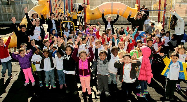 Preschoolers from CentroNia in the Washington, DC, metropolitan area celebrate their new Guinness World Record