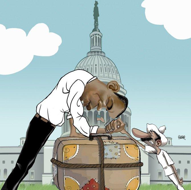 Obama y la inmigración según una caricatura de Gogue