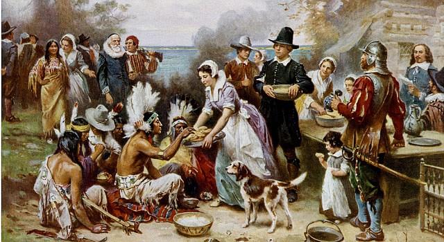 """The First Thanksgiving 1621"", pintura al  óleo de Jean Leon Gerome Ferris (1899)."