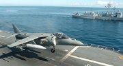 Imagen de un Harrier aterrizando en la cubierta del portaaviones español Príncipe de Asturias