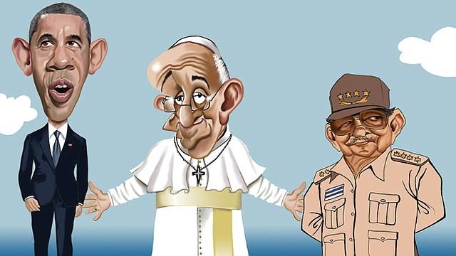 (de izq. a der) Barack Obama, Papa Francisco y Raúl Castro, según la caricatura de Gogue