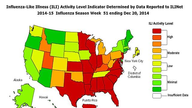 Las zonas de rojo son las de más alta incidencia y las verdes con un menor número de casos, según el CDC.