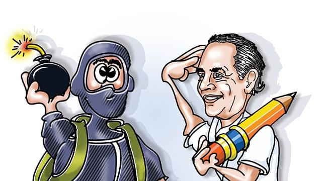 El caricaturista Armando Caicedo se autoretrata delante de un terrorista