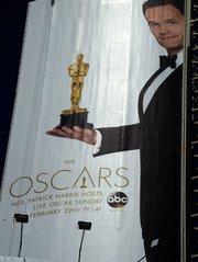 Detalle de una valla con el actor estadounidense Neil Patrick Harris quien será el anfitrión de la edición 87 de la ceremonia de los premios Oscar de Hollywood, California, el domingo 22 de febrero de 2015