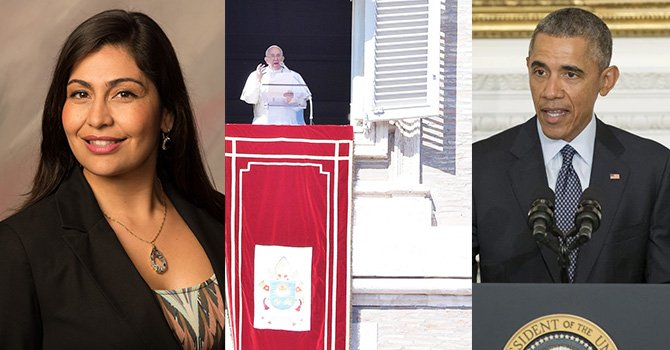 (izq) Jacqueline Reynoso, directora ejecutiva de la Cámara de Comercio de National City. Cortesía (centro) El papa Francisco saluda a los fieles desde el balcón de la Plaza de San Pedro en el Vaticano. EFE (der) El presidente Barack Obama, defendió el derecho a la educación de las niñas y adolescentes en celebración del Día Internacional de la Mujer. EFE