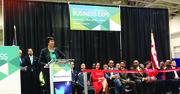 La alcaldesa de DC, Muriel Bowser, durante la inauguración de la Business Expo en el Centro de Convenciones de Washington, el 24 de marzo.