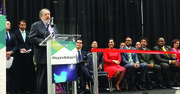 El embajador de El Salvador, Francisco Altschul, durante la inauguración de la Sexta edición de la Business Expo en Washington, DC, el 24 de marzo.