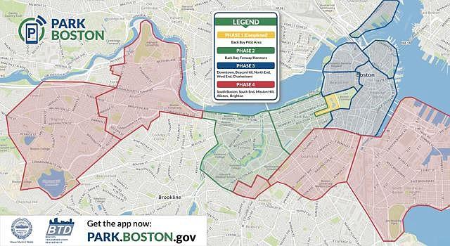La implementación del servicio será por fases. Este mapa indica la línea del tiempo planificada para poner en marcha el servicio en los diferentes vecindarios de Boston.