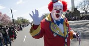 April 11, 2015 An Almas Shriners clown marches in the parade.