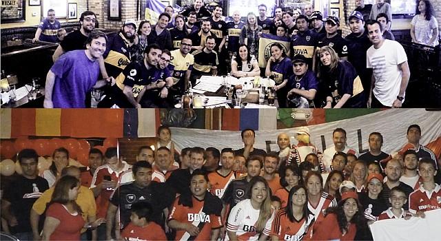Los integrantes de la Peña de Boca Juniors (arriba) reunidos el domingo en Elephant & Castle. Abajo los miembros de la Filial de River Plate que disfrutaron el partido en Lucky Bar el domingo 3 de mayo de 2015 en Washington, DC.