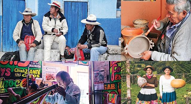 """Arriba Izq.: CONSTRUCTORES. Hombres de la comunidad Huinchiri, Cusco, construirán el puente Q'eswachaka, en el festival. Arriba der.MAESTRO. Mamerto Sánchez pinta un plato de cerámica en Quinua. Abajo Izq.: POSTERS. Pedro """"Monkey"""" Tolomedo Rojas imprime propagandas chicha. Der: HERMANAS. Katya y Blanca Canto, de Huancayo, con sus artesanías."""