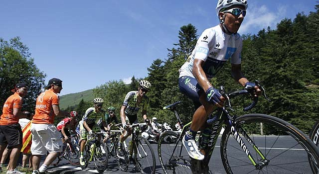 El ciclista colombiano Nairo Quintana, del equipo Movistar, llegó segundo en el Tour de Francia 2015.