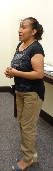 """María Sánchez testificó en Frederick, Maryland, el 21 de julio, en contra de la ordenanza de """"English Only""""."""