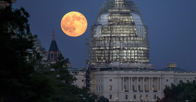 """Luna Azul"" sobre Washington"