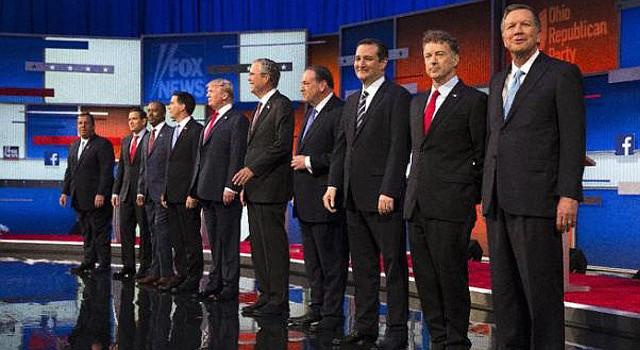 Diez de los principales precandidatos del Partido Republicano a la presidencia, antes del debate del jueves 6 de agosto de 2015.