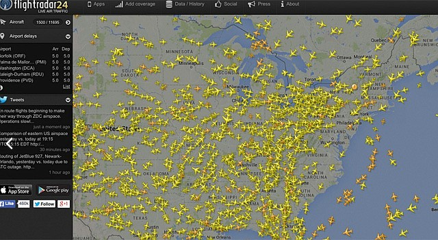 This image made from the website Flightradar24.com shows air traffic over the eastern half of the United States. Flights bound for the Washington area and some flights from airports in the New York City area that must fly over the Washington region were being delayed or grounded Saturday due to a technical problem.