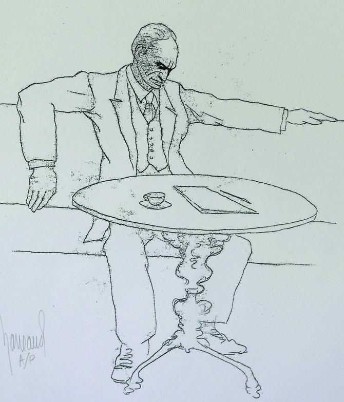Un bosquejo del artista peruano Gaston Garreud, fallecido en 2005. En el dibujo ilustra al memorable Julio César Vallejo.