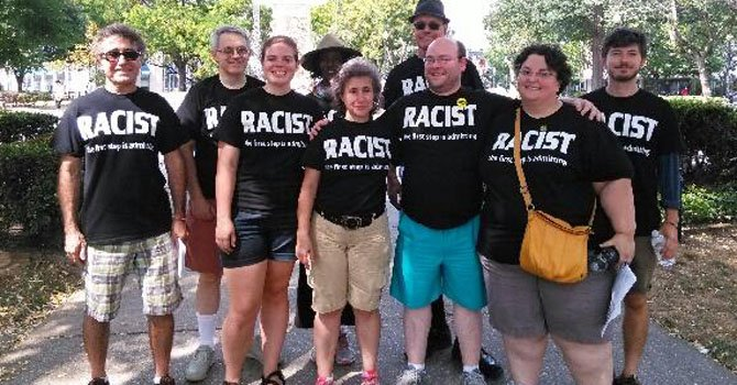 "Author Rod Brana, (left) with other ""Racists"" -- some from the Cedar Lane Universalist Unitarian Church, where the author learned about the event, Sept. 5, 2015."