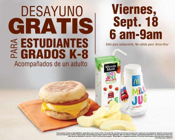 Desayuno gratis en McDonald's