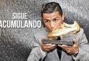 El delantero de la selección de Portugal y del Real Madrid, Cristiano Ronaldo recibe su cuarta Bota de Oro. Este galardón llega de forma consecutiva, ya que en el 2014 también recibió este reconocimiento. Foto: Archivo