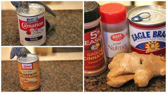 Prepare la mezcla del flan, utilizando una batidora, licuadora o procesador de alimento. Bata los huevos, añada la leche evaporada, leche condensada, canela, nuez moscada, vainilla, jengibre rallado, calabaza, sal y mezcle hasta que todos los ingredientes estén bien integrados.