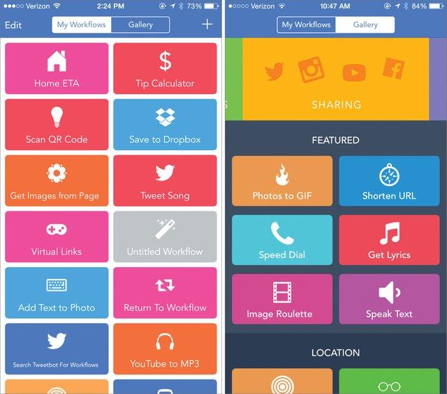 Una de las imprescindibles en nuestro iPhone. Puede crear flujos de trabajo para poder hacer diversas tareas de forma sencilla: crear PDFs, GIFs, iconos para la pantalla de inicio, buscar direcciones, etc.