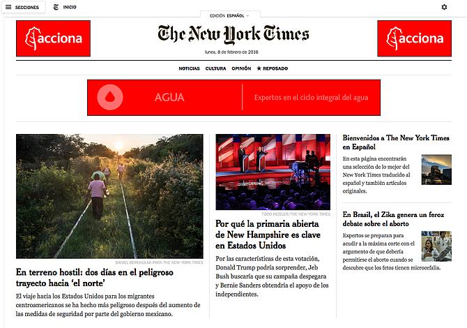 New York Times debuta con un nuevo sitio web en español