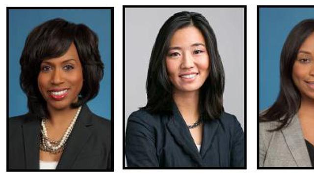 Concejalas de la ciudad de Boston (Ayanna Pressley, Michelle Wu, Andrea Campbell y Annissa Essabi-George)
