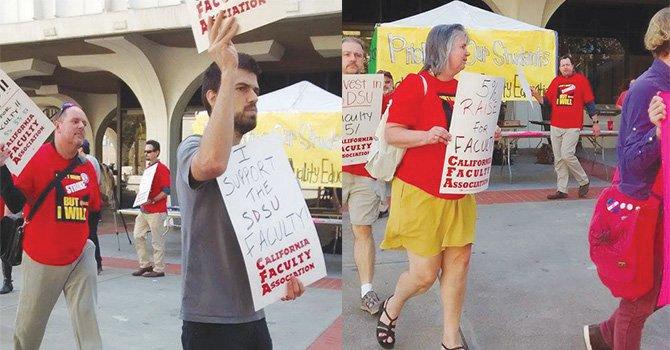 Maestros y personal de SDSU durante una expresión dentro del plantel. Foto: Horacio Rentería/El Latino San Diego.