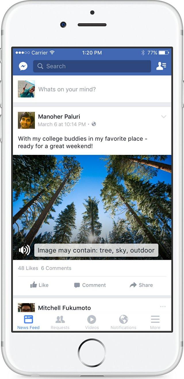Fotografía cedida por Facebook, de una imagen de una pantalla de Facebook donde se observa un bosque con la descripción: árbol, cielo, aire libre; uno de los ejemplos de un nuevo sistema que facilita el acceso a Facebook a personas con limitación visual./Foto:EFE