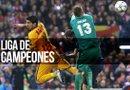 El portero del Atlético Madrid Oblak (d) sale por un balón ante Luis Suárez, del FC Barcelona, durante el partido disputado de vuelta de cuartos de final de la Liga de Campeones/Foto:EFE