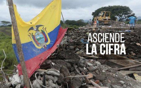 Asciende a 655 el número de muertos por terremoto de magnitud 7.8 en Ecuador