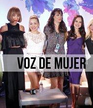 Paty Cantú, Jackie Cruz, Fanny Lu, Natti Natasha, Ednita Nazario y Soledad junto con la moderadora del panel al centro de la foto.