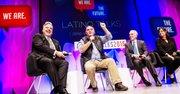 De izq. a der.) Henry Muñoz, José Andrés, Horacio Gutiérrez y Sky Gallegos, el 4 de mayo  en Latino Talks en DC.