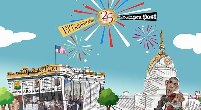 SÍMBOLO. Caricatura de Gogue en celebración del 25 aniversario de El Tiempo Latino en Washington, DC.
