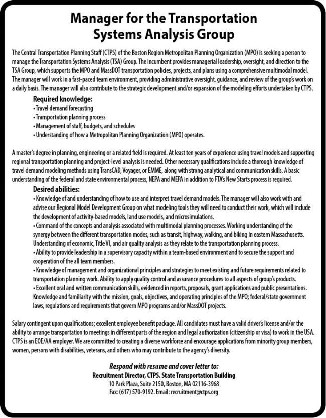 Jobs at Central Transportation Planning Staff