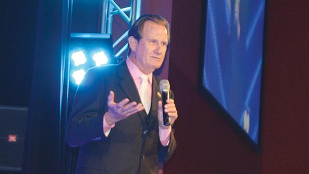 Alcalde Ron Morrison durante su informe de labores. Foto Horacio Rentería/El Latino San Diego.