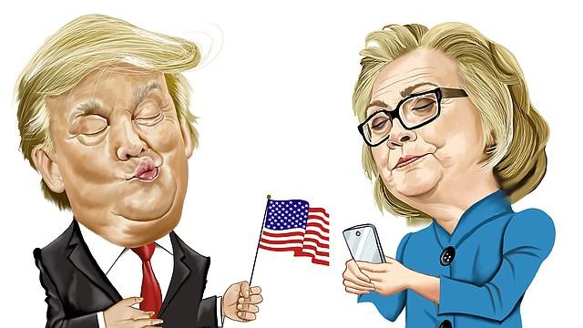 Caricaturas de Trump y Clinton de GOGUE