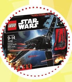 LEGO Star Wars – Lanzadera imperial de Krennic ($95)  Este juguete viene equipado con enormes alas plegables, paneles delanteros, laterales abatibles, cinco minifiguras y un droide K-2SO. Si buscas una nave de transporte impenetrable, esta es la opción perfecta. Siéntalo en el asiento del piloto, despliega las gruesas placas de blindaje y carga a los Death Troopers. Baja la rampa, arma los cañones automáticos y cierra el casco antes de despegar. Levanta los patines de aterrizaje, baja las alas para activar el modo de vuelo, ¡y pon rumbo a otra peligrosa misión! Este set proporciona una experiencia de construcción apropiada para niños de entre 9 y 14 años.
