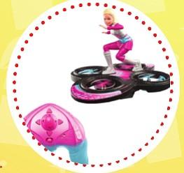 Barbie voladora ($60)  Es la muñeca más famosa del mundo y estas navidades llega con una gran novedad: ¡podrá volar!. El skate y los drones se mezclan en la aventura de Barbie que podrá surcar los cielos. Deberás aprender a controlar los vuelos de Barbie y disfrutar con sus piruetas. Recomendado a parti de 8 años.