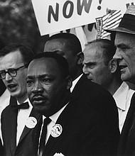El Dr. Martin Luther King Jr. en la manifestación de 1963 en Washington, DC para los derechos civiles