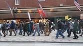 Protestantes en Downtown Boston