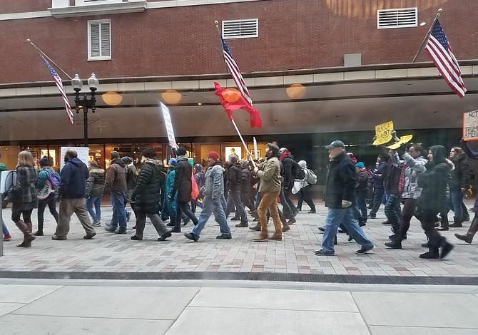 En Boston también protestaron contra la investidura de Donald Trump