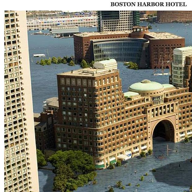 Esto sería una proyección de cómo Boston Harbor Hotel podría verse en unos 30 años. Fuente: Climate Central.