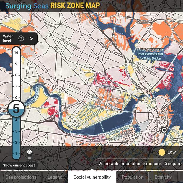 7300 personas en East Boston están en riesgo de inundaciones. De ellas, casi 4000 son latinos. Cerca de 3.000 inmuebles están ubicados en la zona roja, valorados en 840 millones de dólares. Datos: Clima Central