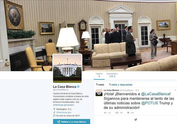 La Casa Blanca reactiva su cuenta de Twitter en español